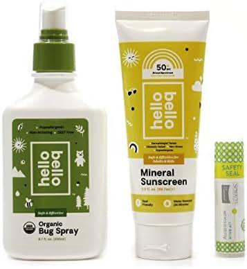 Hello Bello Organic Bug Spray (6.7 fl oz) & Hello Bello SPF 50 Mineral Sunscreen (3 fl oz) bundle w/Sprouts SPF 15 Organic Lip Balm (0.25)! Summer Essentials Set!