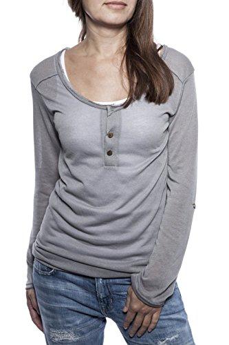 Ella Manue Women Longsleeve Serafino Shirt Lina Silver Grey