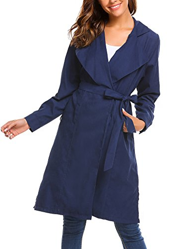 Beyove Women's Classic Long Sleeve Trench Coat With Belt Navy Blue (Blue Womens Coat)