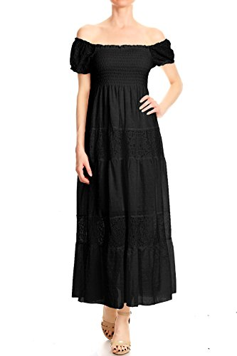 Anna-Kaci Womens Boho Elastic Lace Ruffle Semi-Sheer Long Smocked Maxi Dress,Black,Large