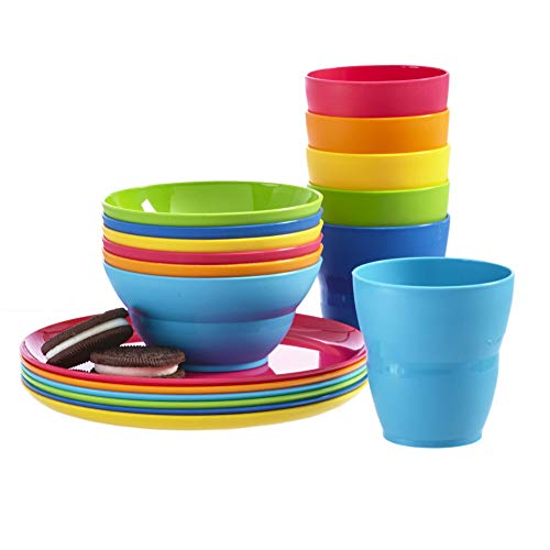 Ellie Kids Small Plastic Tumblers, Snack Bowls & Snack Plates | 18-piece set in 6 Assorted Colors