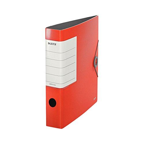 (Leitz Multifunction A4Trend Colours Ring Binder-Elastic Closure Plastic Solid Slim Light red)