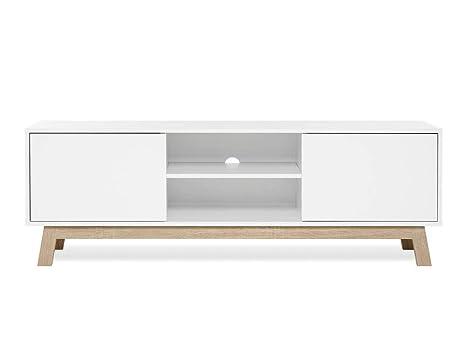 TV Board - Lowboard im skandinavischen Design (B/H/T: 150 x 50 x 40 cm) weiß