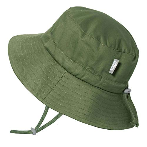 JAN & JUL Toddler Boys Girls Cotton Bucket Sun Hats 50 UPF, Drawstring Adjustable, Stay-on Tie (M: 6-24m, Green)