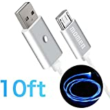 Android Charger Cable, Micro USB Cable 10ft Compatible for Samsung Galaxy S7 Edge S6, Kindle, PS4, Xbox with Adjustable Switch Button&5 Lighting Modes, Visible Flowing LED USB Charging Cable (Blue)