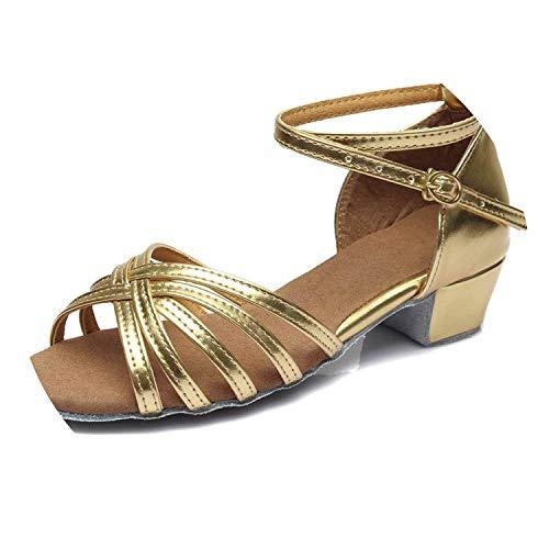 (oRNicolaCamp 2019 Girls Children/Child/Kids Ballroom Tango Salsa Latin Dance Shoes Low Heel Shoes,Gold 1,5)