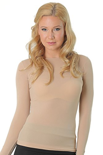 Kosher Modest Crew Neck Long Sleeve Semi Sheer Second Skin Classic Top