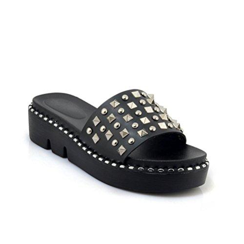 Femmes Rivets Chaussures Forme Noir Sandales antidérapant Femmes Bas Slide épais Été Chaussures Plate Sandales Flats Cales Btdqntvp