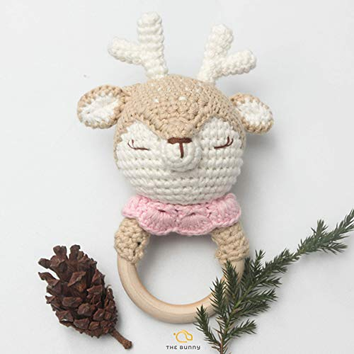 Infant Reindeer - [Handmade by Bunny] X-max Crochet Baby Rattle Deer - Reindeer Wooden Ring - Animal Plush Toy - Perfect Infant Teething Toy to use