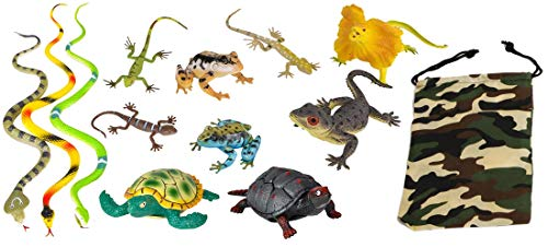 LightShine Products 12 Piece Medium and Large Sized Reptiles and Amphibians Toy Animal Figures Bundle (Frogs, Turtles, Snakes, Lizards and Assorted Reptiles with Camouflage Carry Bag) -