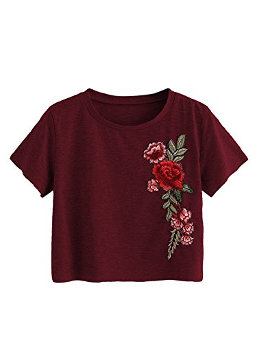 MakeMeChic Women's Short Sleeve Cute Print Crop Top Summer Tee Shirt Wine-Flower L