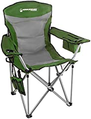 Wakeman Outdoors Heavy Duty Camp Chair-850lb High Weight Capacity Big Tall Quad Seat-Cup Holder, Cooler, Carry