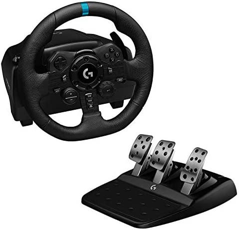 Logitech G923 Racing Wheel and Pedals for PS 5, PS4 and PC Featuring TRUEFORCE as much as 1000 Hz Force Feedback, Responsive Pedal, Dual Clutch Launch Control, and Genuine Leather Wheel Cover