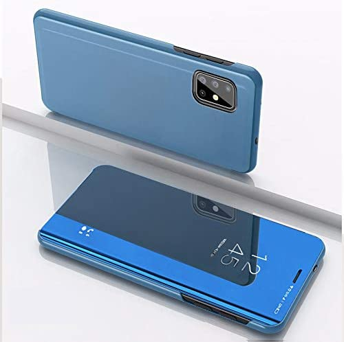 Amocase Smart Clear View Case with 2 in 1 Stylus for Samsung Galaxy A51,Ultra Slim Electroplate Plating Stand Mirror Full Body Shockproof PC Silver Magnetic PU Leather Flip Case
