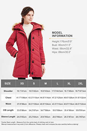 Orolay Women's Quilted Down Jacket Winter Coat Hooded Mid Length Puffer Jacket