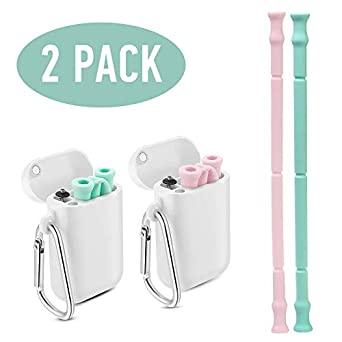 for Travel Household Collapsible Straw Reusable and Environmentally Friendly Straw Stainless Steel Straws Foldable Drinking Straws with Portable Cleaning Brush Black and Blue 2pack