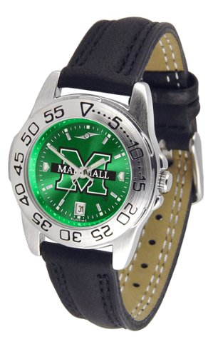 (Marshall Thundering Herd NCAA AnoChrome Sport Ladies Watch (Leather Band))
