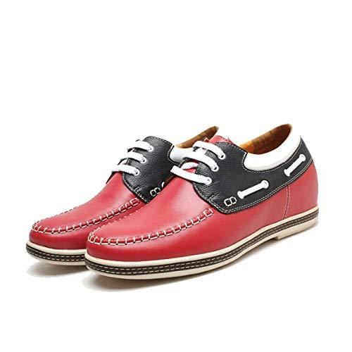 Comfort Pelle da Colore Red Scarpe Moda Interno Britannico in Uomo Incremento Stile Corrispondenza x1qEzT