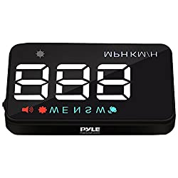 Pyle Universal 3.5'' Car HUD Head-Up Display Multi-Color Windshield Screen Projector Vehicle Speed & GPS Navigation Compass, Plug & Play (PHUD12)