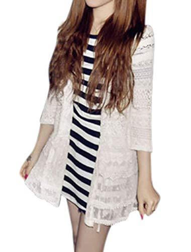 Saoye Fashion Cardigan Femme Printemps Automne Manteau lgant Mode Assez Branch Confortable Coat Vtements Manches 3/4 Dentelle pissure Transparent Outerwear Blanc