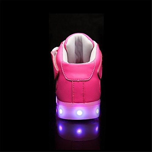 Shoes Colori Scarpe Sneakers Tennis Scarpe Lampeggiante Unisex Luminosi DoGeek Bright con USB Luce con Rosa Bambino Suola 8 Trainners nella LED Luci XZUpCxqxw