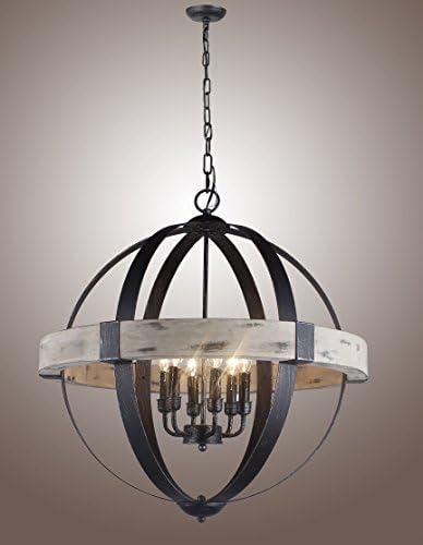 Decomust 26 Vintage Pendant Chandelier Light Aspen Wood Frame Iron Band Sphere Globe