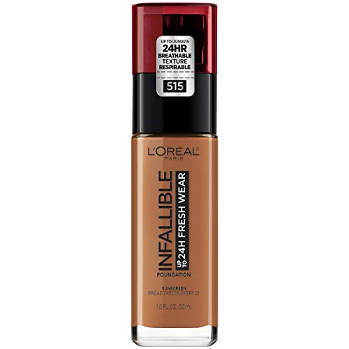 (L'Oréal Paris Makeup Infallible up to 24HR Fresh Wear Liquid Longwear Foundation, Lightweight, Breathable, Natural Matte Finish, Medium-Full Coverage, Sweat & Transfer Resistant, Copper, 1 fl. oz.)
