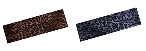 "(Set of 2) 2.5"" Cotton Leopard Animal Print Stretch Headbands (Brown & Black)"