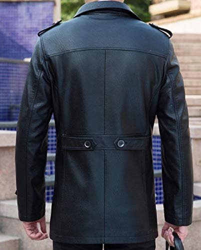 Pu Mens Black Breasted Mogogo Leather Length Jacket Smooth Single Thigh wYqwU7xA