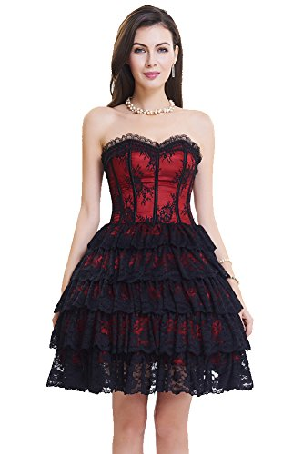 SZIVYSHI Women's Sexy 14 Plastic Boned Lace up Bustier Corset Dress Black and Red Size L - Red Corset Dress