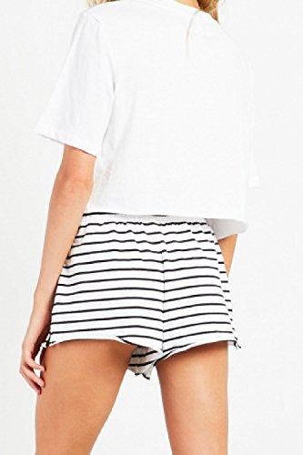 Bianco Angosciato Hot Beachwear Donne Estate Elastica Le Strisce Shorts Casual q6zxcwf