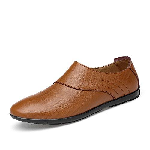 Barco 38 de Zapatos Hombre Casual Hollow Slip Mocassins Conducción Superior shoes marrón Zapatos Marrón Opcional 2018 Zapatillas Gentlemen sintética Xiazhi Piel 5 Hombre Loafers On Piel de SPxXq