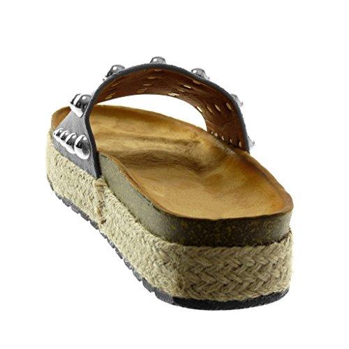 ... Angkorly Scarpe Moda Sandali Mules Slip-On Zeppe Donna Borchiati Perla  Corda Tacco Zeppa Piattaforma 46ed18a6f9b