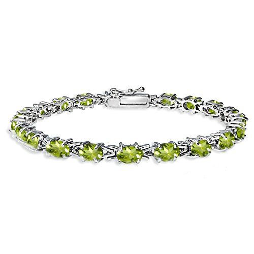 Sterling Silver Polished Peridot 6x4mm Oval-cut Link Tennis -