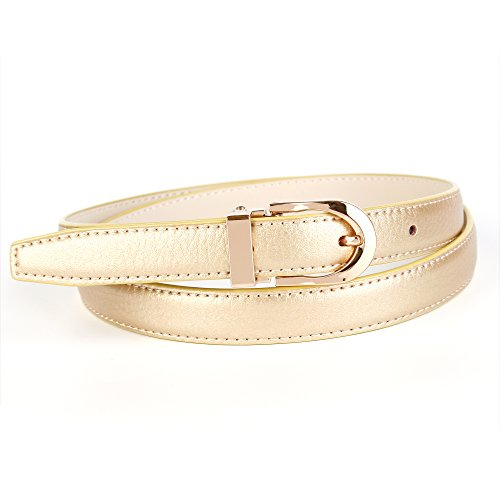 "Anthoni Crown Leather Ladies Belt 0,8"" Width Gold Color with Gold Metallic Buckle 34""-44""/43tg"