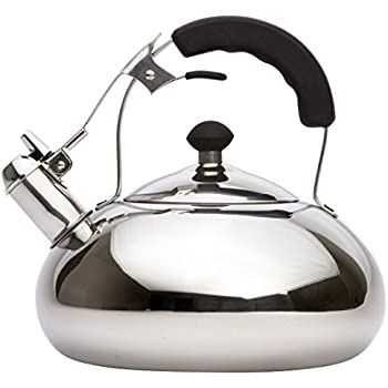 Vanika Stainless Steel Tea Kettle; Whistling Teapot Design; Large 3.0L (3.2 Quart)