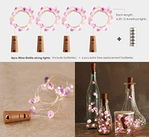 MIYA LIFE Wine Bottle Amethyst String Lights 4 Pack 3.3ft 15 LED with Fairy Copper Wire Used Indoor Outdoor Decoration Halloween DIY Summer Party Wedding for The Wine Lover Night Light