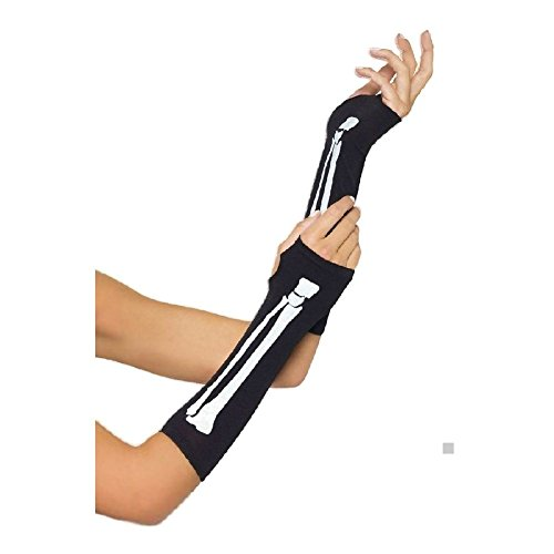 Skeleton Gloves Fingerless Adult Womens Halloween Costume Fancy Dress -