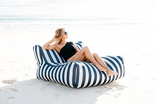 Epona Co The UV Lounger 47.2W x 47.2L x 23.6inch (Back Height) X 11.8inch (Seat Height) Navy Stripe - BEAN BAG COVER ONLY by Epona Co