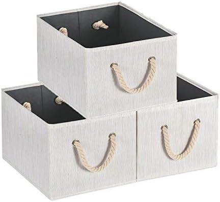MaidMAX Cajas de Almacenaje Decorativas, Cestas de Almacenaje con Manillas de Cuerda, Set de 3 Cajas de Almacenaje de Ropa, Juguetes, Beige, 36,5 x 25,4 x 21,4 cm: Amazon.es: Hogar