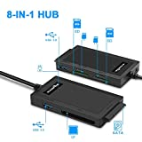 Rocketek USB 3.0 to SATA Adapter Converter-8 in 1 USB 3.0 Docking Station for CF Card, SATA, XD Card, SD Card, TF Card, Micro SD Card, MS Card-USB 3.0 Hub Adapter for 5 Devices Work Simultaneously