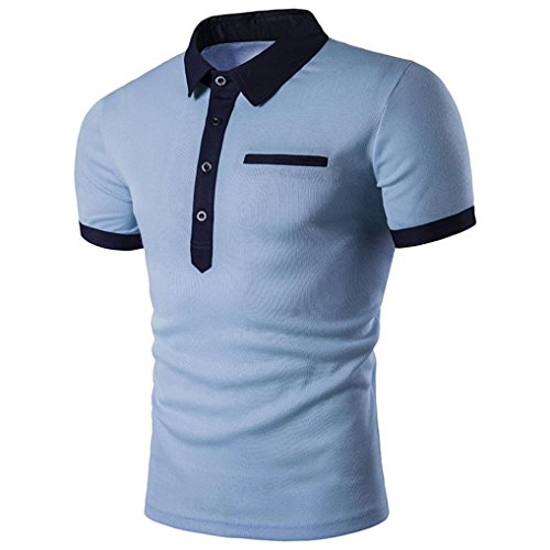 FUNIC Men's T-Shirt, Men Slim Short Sleeve Casual Polo Shirt