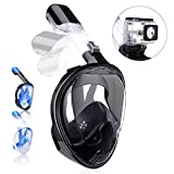 QingSong Snorkel Mask Full Face, Snorkeling Mask for Adults with Detachable Camera Mount, Foldable 180 Degree Large View Free Breath Dry Top Set Anti-Fog Anti-Leak