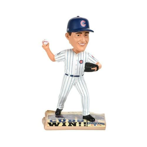 Image of Forever Collectibles Kyle Hendricks Chicago Cubs 2016 World Series Newspaper Base Bobblehead MLB
