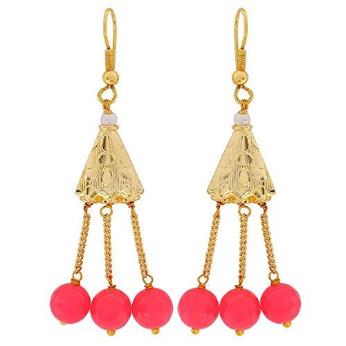Maayra Designer Earrings Pink White Dangler Drop Wedding Festival Jewellery by Maayra