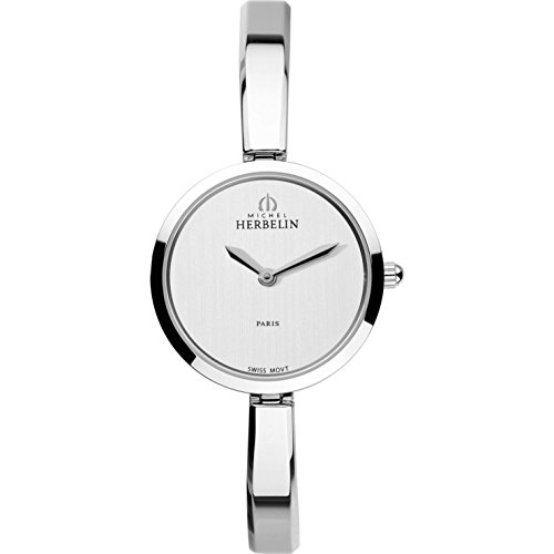Michel Herbelin Women's Classic 26.5mm Steel Bracelet & Case Quartz Silver-Tone Dial Watch 17401/B02