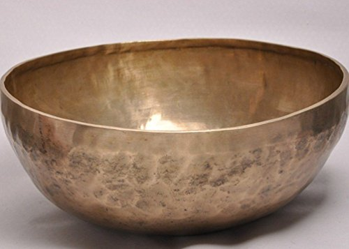 11 inches Hand Hammered Metal Tibetan Meditation Singing Bowl with Striker - From Nepal - Markings Crystal Bowls