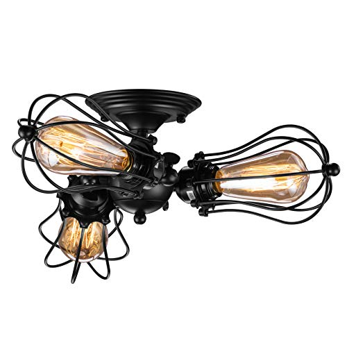 Vintage Wire Cage Semi Flush Mount Ceiling 3-Light, Licperron Industrial Black Metal Caged Ceiling Light Fixture