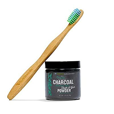 Natural Teeth Whitening Activated Charcoal Powder (Spearmint) + WooBamboo Toothbrush