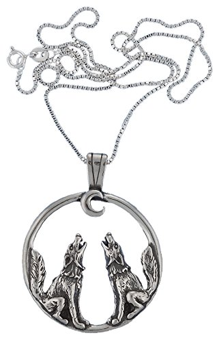 Corinna-Maria 925 Sterling Silver Wolf Pendant Necklace Wolves Howling at the Moon ()